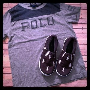 Boy's polo brand shirt and matching polo shoes